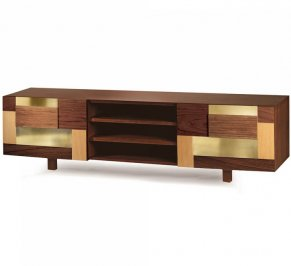 ТВ-аудио стойка Mambo Unlimited Ideas Form, form-tv-bench-walnut-brass