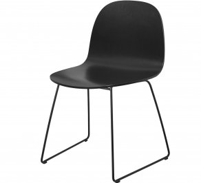 Стул без подлокотников Gubi 2D Dining Chair, Sledgebase_Black_BlackStainedBeech