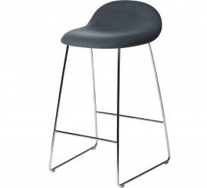 Барный стул Gubi 3D Counter Stool, Chrome_Wood_Oak_BlueGrey