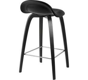 Барный стул Gubi 3D Counter Stool, BlackStainedBirch_Hirek_Black_Leather