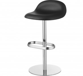 Барный стул Gubi 3D Counter Stool, SwivelBase_Chrome_Leather