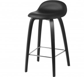 Барный стул Gubi 3D Counter Stool, Chrome_BlackStainedBeech_Leather