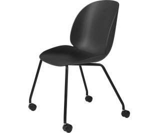 Офисное кресло Gubi Beetle Meeting Chair, 4LegsCastors_Unupholstered_Black