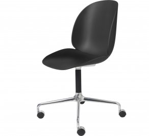 Офисное кресло Gubi Beetle Meeting Chair, 4StarCastors_Unupholstered_Alu_Black