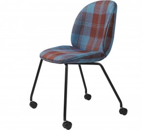 Офисное кресло Gubi Beetle Meeting Chair, 4LegsCastors_Black_DedarPlayfullPlaidT15015