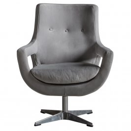 Кресло Venosa Swivel Chair Grey Velvet